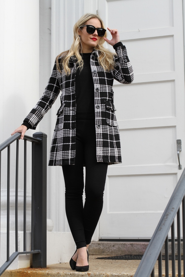 Black and White Plaid Coat on CaliCrest.com