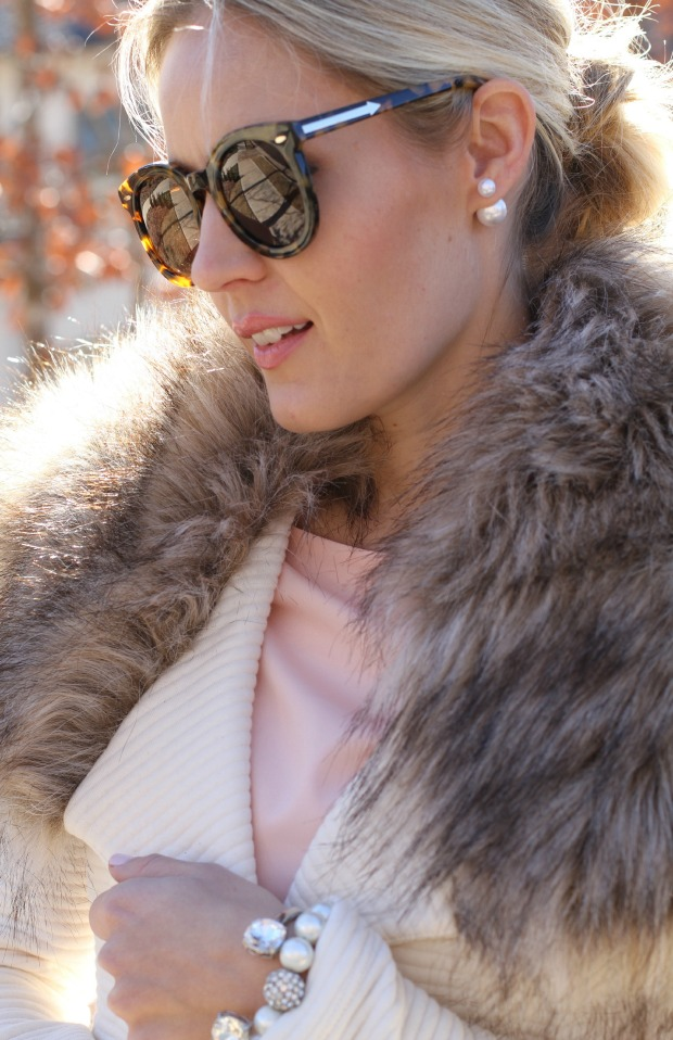 Karen Walker 'Super Duper' Sunnies and double pearl earrings on CaliCrest.com