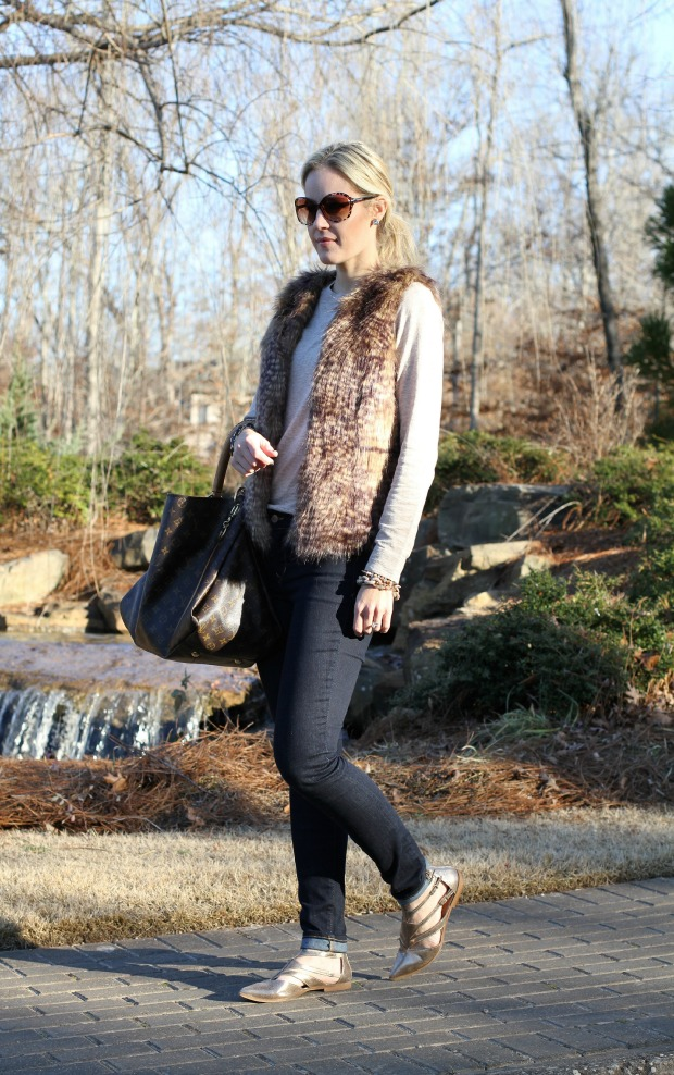 Neutral Faux Fur Vest on CaliCrest.com