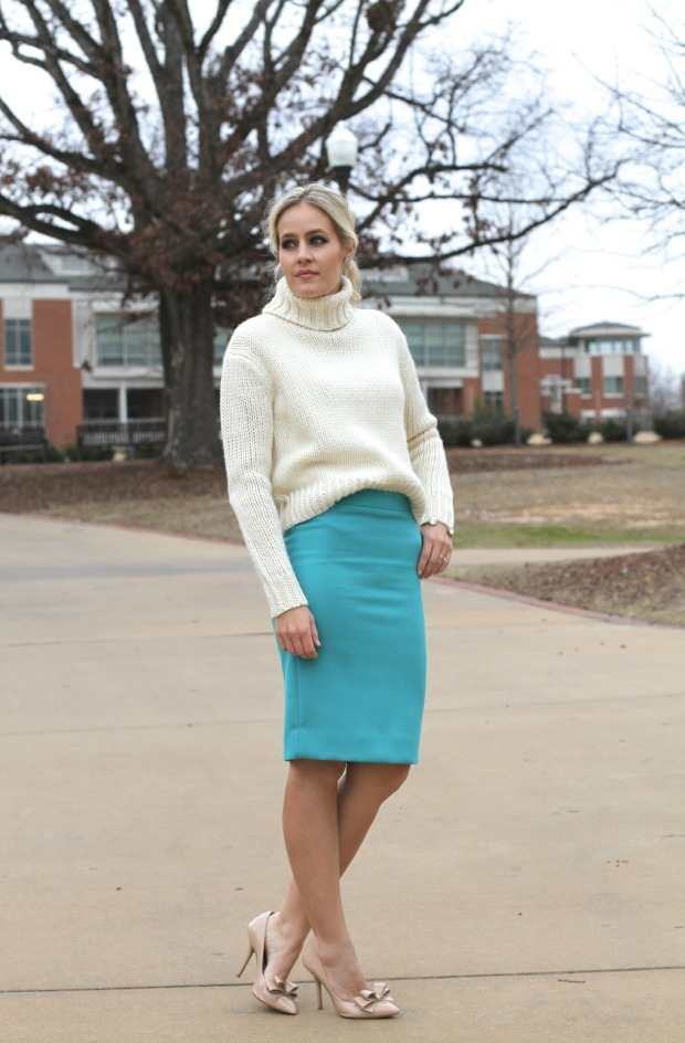 Turquoise Pencil Skirt on CaliCrest.com