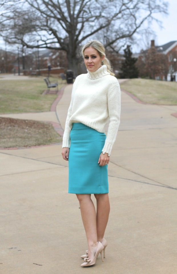 Turtleneck and Pencil Skirt on CaliCrest.com