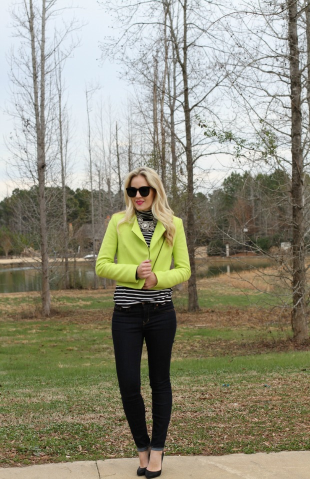 Zara Neon Moto Jacket on CaliCrest.com