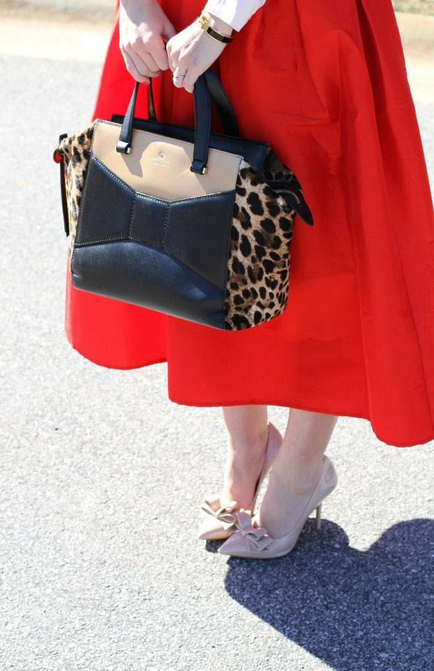 Bow Heels and Kate Spade Beau Bag on CaliCrest