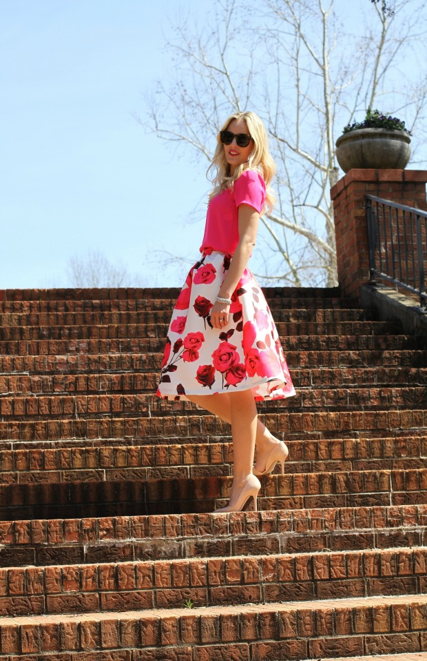 Pink Rose Midi Skirt on CaliCrest