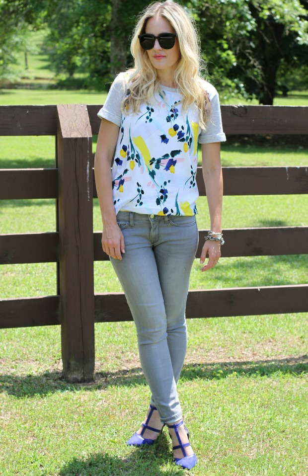 Floral Top and Grey Jeans on CaliCrest.com