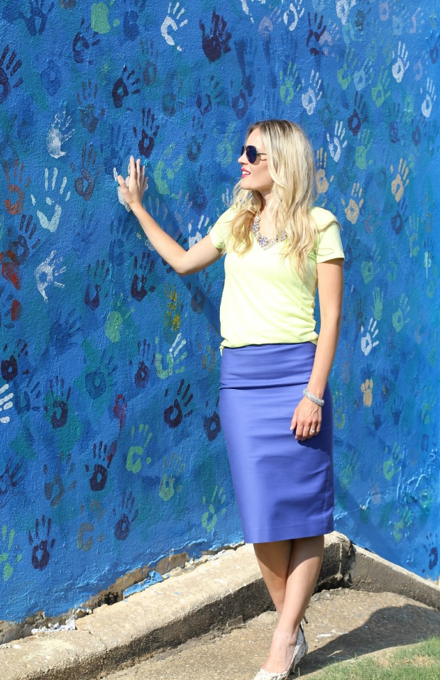 J. Crew Pencil Skirt and T-Shirt on CaliCrest.com