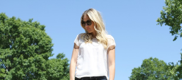 White Blouse with pretty details on CaliCrest.com