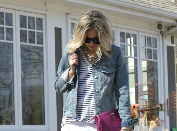 Striped Tee with Denim Jacket on CaliCrest.com